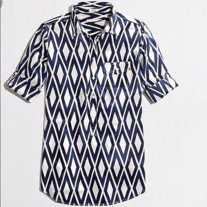 J crew lightweight cotton diamond print tunic XS
